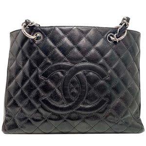 Chanel Auth Grand Shopping Tote Black Caviar